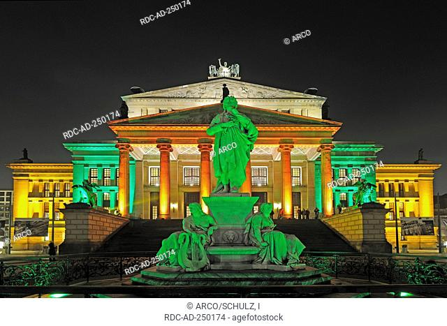 Schiller monument in front of Concert Hall during Festival of lights Gendarmenmarkt Berlin Germany