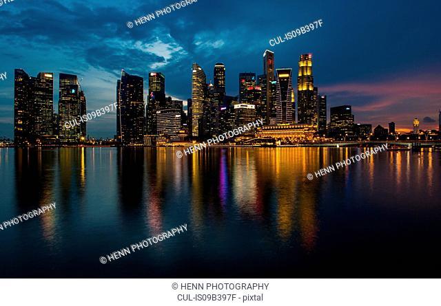 Skyline of Singapore, by night