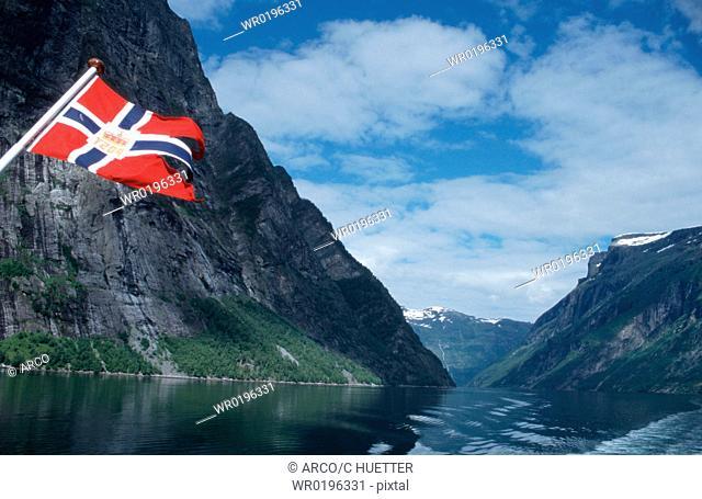 Norwegian, Flag, and, Geirangerfjord, Norway
