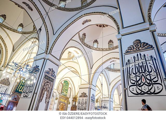 Interior detailed close view of Grand Mosque or Ulu Cami is largest mosque in Bursa,Turkey. 20 May 2018