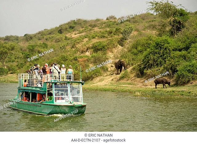 A tourist boat and wildlife along the banks of the Kazinga channel that leads between Lake George and Lake Edward in the Queen Elizabeth National Park in...