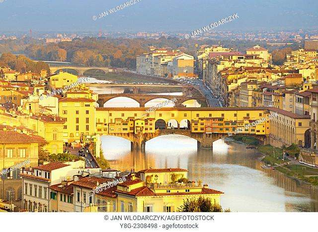 View over Florence and Ponte Vecchio, Florence, Italy