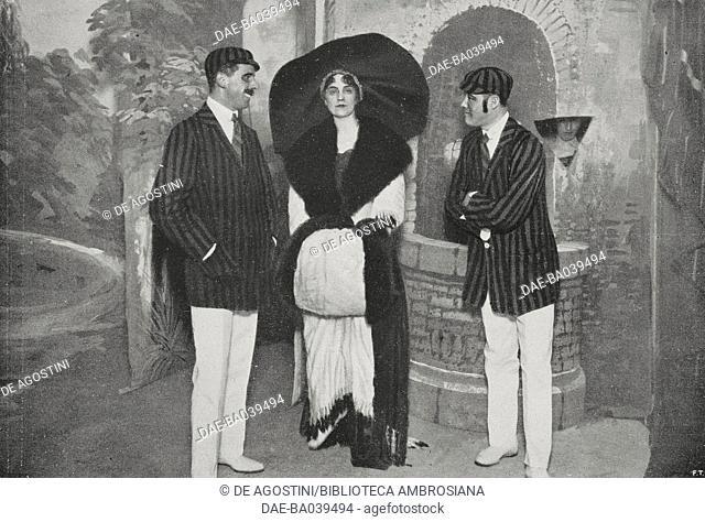 Gerolamo Frigerio, the modern lady (Carla Visconti di Modrone) and Dr Amman: scene from the satirical comedy 'Chi sa il gioco me lo insegni', Milan, Italy