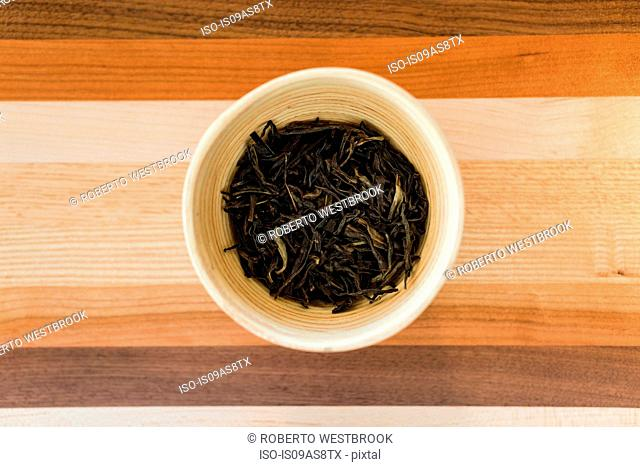 Loose leaf tea, overhead view, close-up