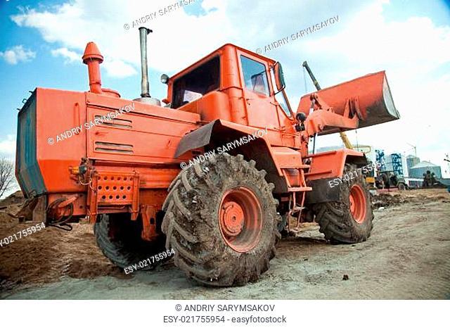 Bulldozer on sand