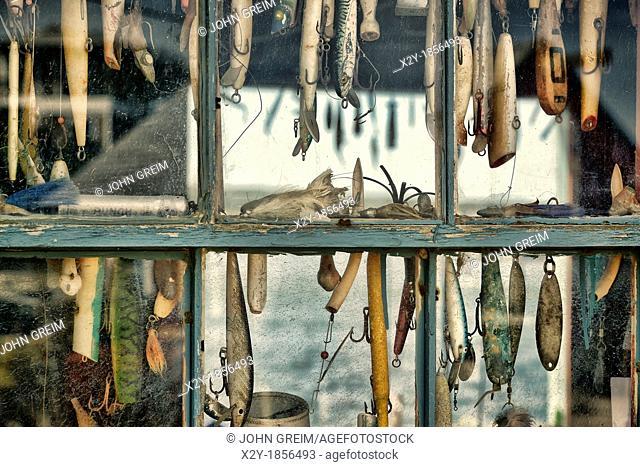 Hooks and lures in a fishing shack window, Menemsha, Chilmark, Martha's Vineyard, Massachusetts