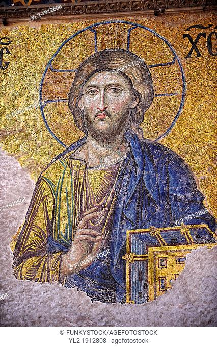 Byzantine mosaic, 1261, detail of Christ Pantocrator for humanity on Judgment Day Hagia Sophia, Istanbul, Turkey