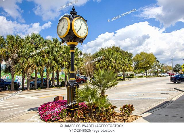 Fancy clock on street in Lake Placid Florida known as the Town of Murals