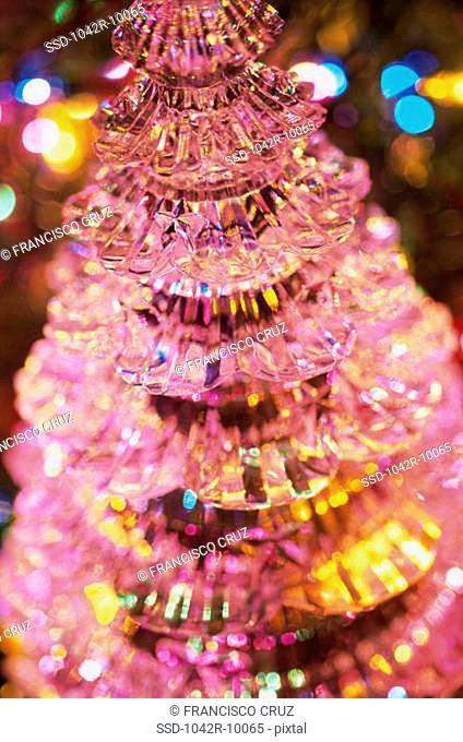 Close-up of a miniature Christmas tree