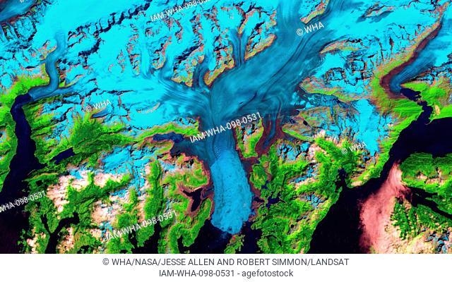 Retreat of Alaska's Columbia Glacier; Satellite image shows the state of glacier melting in 1995