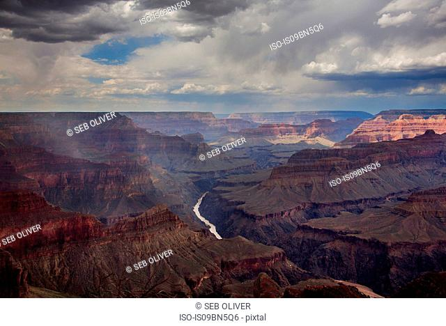 View across the Grand Canyon National Park, showing the Colorado river, Arizona, USA