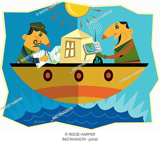 Two men on opposite sides of a boat where one man is using a gps to navigate and the other is using a map