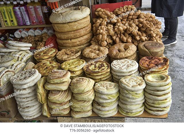 Delicious breads at the local Tibetan bakery, Xiahe, Gansu, China