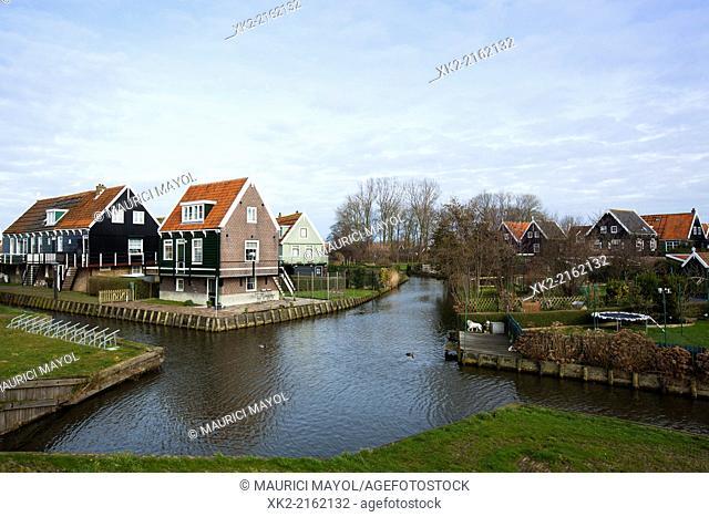 Traditional houses in Marken, near Amsterdam, Nederland