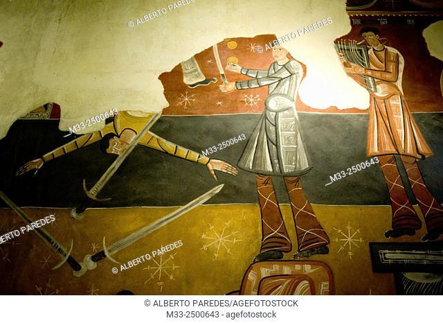Copy of fresco. Sant Joan de Boi romanesque church. Vall de Boi, Lleida, Catalonia, Spain