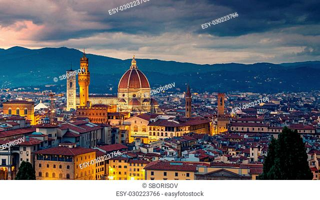 Aerial view of Florence at night, Italy
