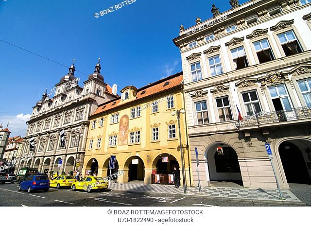 Beautiful buildings in the Mala Strana area in Prague