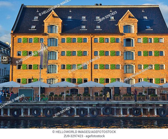 71 Nyhavn Hotel, Nyhavn, Indre By, Copenhagen, Denmark, Scandinavia. The hotel is located in 2 renovated warehouse buildings from the early 1800's