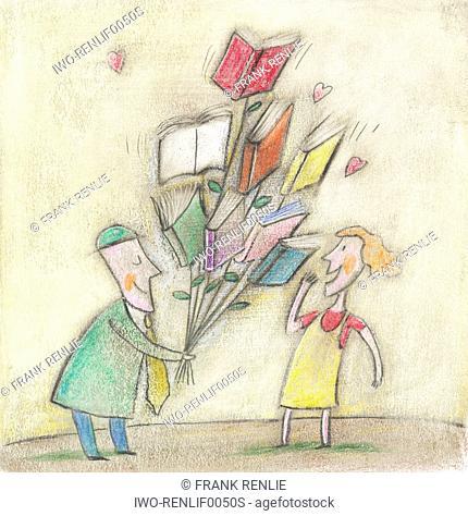 Gentleman offering bouquet of books to ladyfriend