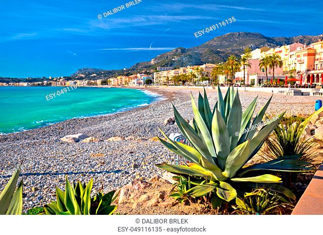 Town of Menton mediterranean beach and waterfront view, southern France