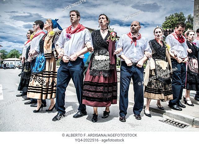 Nueva de Llanes. The village people performing the ancient ritual of danza prima. Asturias. Spain