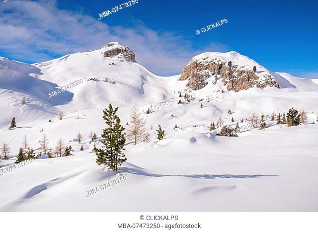 The snowy fields of Passo Valparola, Belluno, Veneto, Italy, Europe