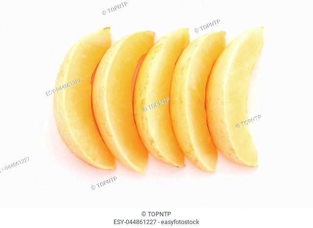 fresh cantaloupe on white background