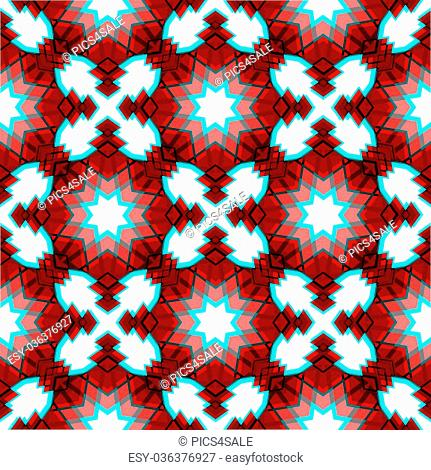 Red festive geometric abstract christmas star seamless pattern background