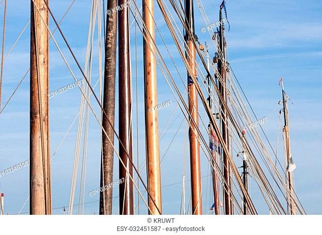 Masts and rigging from old wooden sailing ships