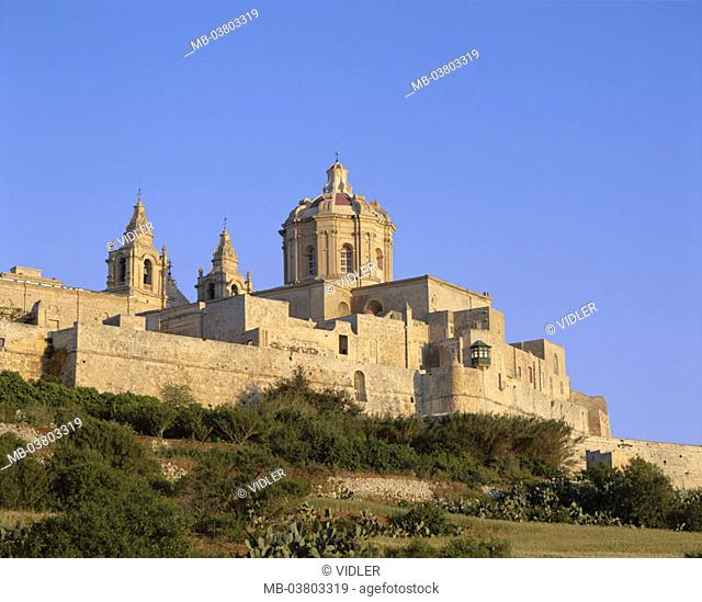 Malta, Mdina, view at the city, city wall, St. Paul's church  Series, island state, Maltese islands, Mittelmeerinsel,  Island, Rabat, cityscape, cathedral St