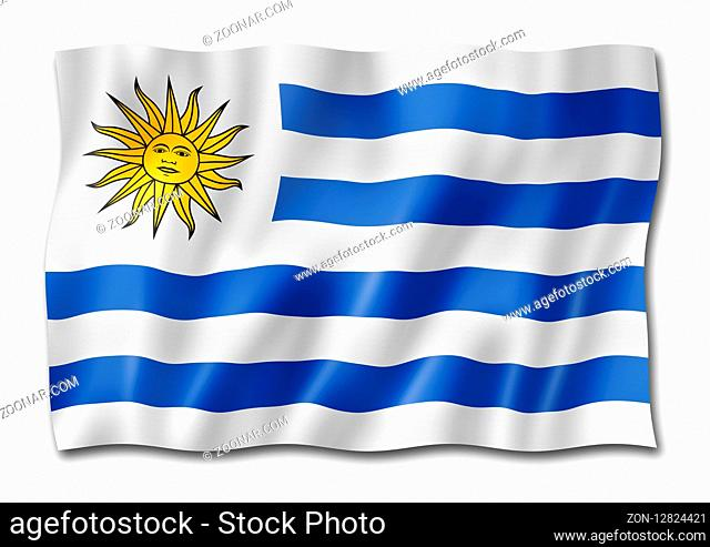 Uruguay flag, three dimensional render, isolated on white