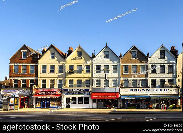 Building facade in Lewisham high street - South East London, England