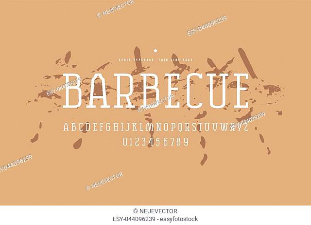 Original serif font. Thin line face. Letters and numbers for logo and emblem design. White print on bbq texture background