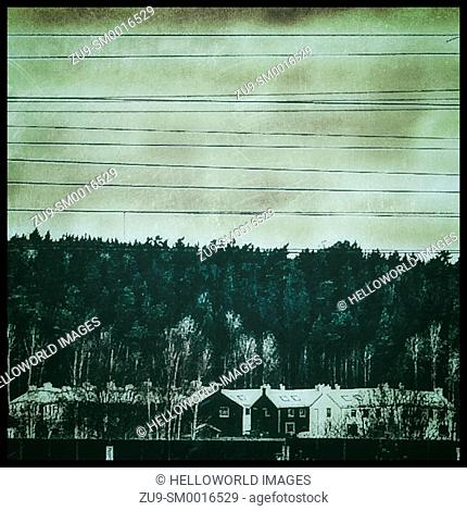 Houses, forest and railway overhead cables, Upplands Vasby, , Stockholm, Sweden, Scandinavia