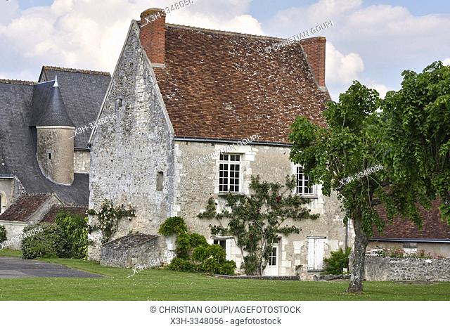 church of Notre-Dame and house of Ferriere-sur-Beaulieu at the edge of the national Forest of Loches in Touraine, department of Indre-et-Loire