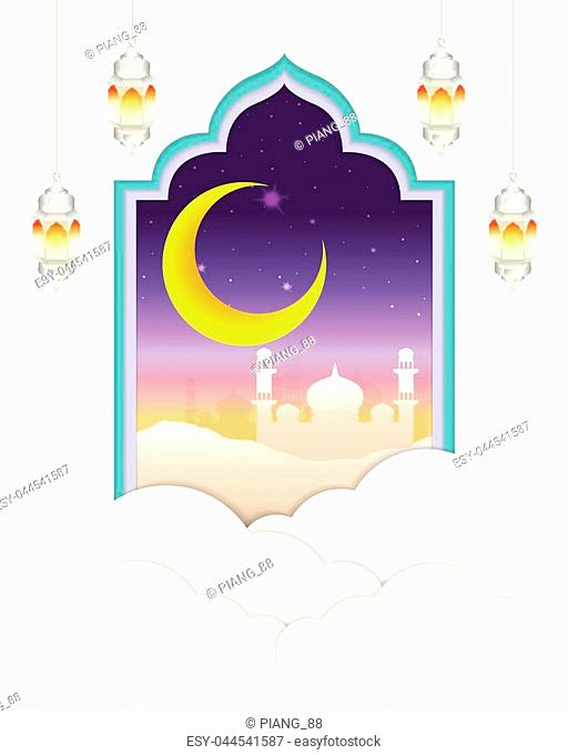 Eid Mubarak or Happy Eid greeting card. Paper cutting frame Arabian style with islamic mosque night scene with starry sky and crescent moon