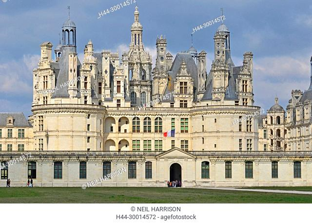 The front entrance to the UNESCO listed royal Chateau de Chambord, France