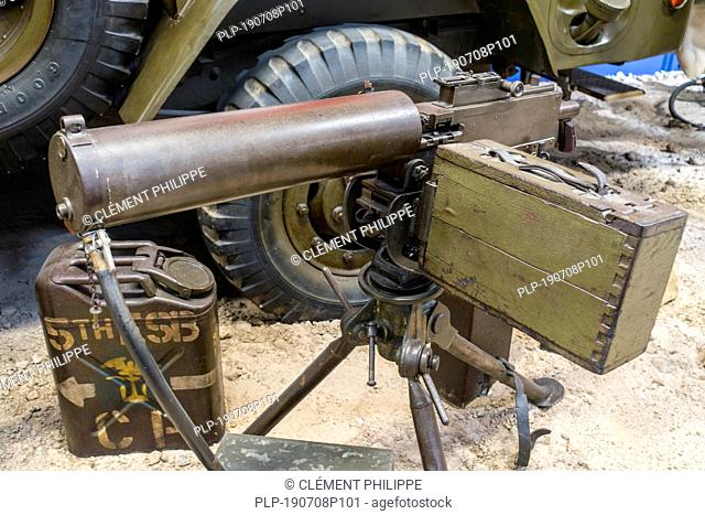 World War Two water-cooled M1917A1 / M1917 A1 Browning machine gun mounted on tripod, used by the United States Armed Forces during WW2