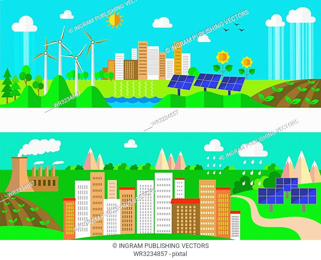 Set of environment and ecology banners. Green energy and pollution