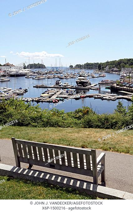 Picturesque harbor in Camden, Maine, USA  A popular Mid-Coast town in Maine