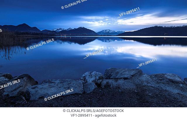 Dawn on Lake Alserio, Como province, Brianza, Lombardy, Italy, Europe
