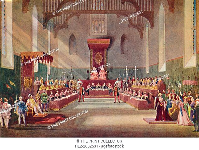 'The Trial Scene in Henry VIII', 1904. From Social England, Volume VI, edited by H.D. Traill, D.C.L. and J. S. Mann, M.A