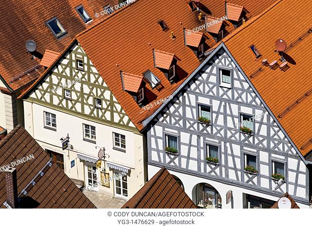 Rooftop view of buildings in Pottenstein, Franconia, Bavaria, Germany
