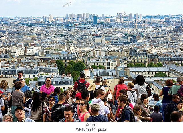 Tourist at Montmartre hill Having a View of Paris, France