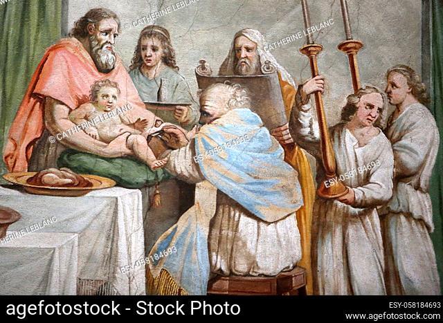 The circumcision of Jesus Christ. Painting. Saint Jacques collegiate church. Sallanches. Haute-Savoie. Auvergne Rhône-Alpes. France. Europe