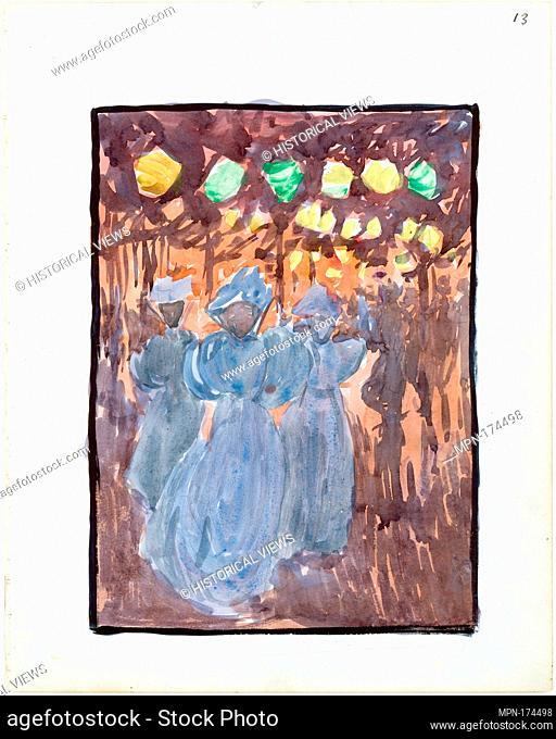 Large Boston Public Garden Sketchbook: Night scene with three women in blue. Artist: Maurice Brazil Prendergast (American, St