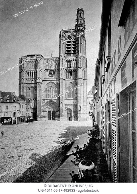 Early autotype of sens cathedral, sens, burgundy, france, historical picture, 1884
