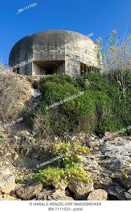Cement bunker from World War II, east coast, Sicily, Italy