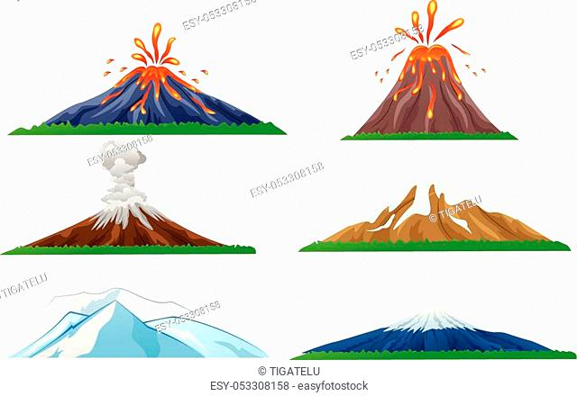 Vector illustration of Cartoon volcano eruption set