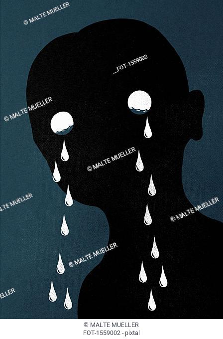 Illustration of man crying against blue background